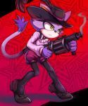 1girl absurdres alternate_breast_size animal_ears ascot black_background black_legwear blaze_the_cat breasts cat_ears cat_tail closed_mouth commentary_request cosplay eyelashes forehead_jewel full_body furry gloves gun hat hat_feather highres holding holding_gun holding_weapon long_sleeves looking_to_the_side medium_breasts okumura_haru okumura_haru_(cosplay) pantyhose persona persona_5 pink_shirt purple_gloves purple_headwear purple_shorts red_background shirt shoes shorts solo sonic_the_hedgehog standing star starry_background tail toasty_scones two-tone_background weapon yellow_eyes