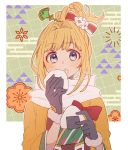 1girl blonde_hair blue_eyes bow eating food fur-trimmed_gloves fur_trim gloves granblue_fantasy hair_bow hair_ornament hairpin japanese_clothes kimono kyouna mirin_(granblue_fantasy) onigiri scarf