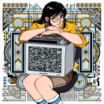 1girl abstract_background bangs black_eyes black_hair brown_shorts chair feet_out_of_frame glasses highres long_hair long_sleeves original shirt shorts sitting smile socks solo static television white_legwear yellow_shirt yoshitake_yamane
