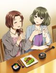 2girls :d ^_^ blue_eyes blue_jacket blush brown_hair center_frills chair chopsticks closed_eyes collarbone cup dress drink drinking_glass food frills green_hair grey_jacket hair_over_shoulder holding holding_cup ice ice_cube idolmaster idolmaster_cinderella_girls jacket jewelry kawashima_mizuki long_hair low_ponytail mattaku_mousuke mole multiple_girls necklace on_chair open_clothes open_jacket open_mouth pink_dress ponytail purple_dress sitting smile table takagaki_kaede