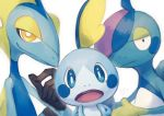 :o absurdres blue_eyes blush_stickers closed_mouth commentary_request drizzile gen_8_pokemon half-closed_eyes highres inteleon looking_at_viewer no_humans oomura_saki open_mouth pokemon pokemon_(creature) signature simple_background sobble upper_body white_background yellow_eyes