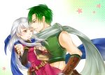 1boy 1girl ;d abs bangle bare_shoulders belt black_gloves black_legwear blue_scarf blush book book_hug bracelet checkered checkered_background couple dress elbow_gloves fingerless_gloves fire_emblem fire_emblem:_radiant_dawn gloves gradient gradient_background green_eyes green_hair hair_ribbon half_updo hetero highres holding holding_book hug jewelry krsk_fe long_hair looking_at_another micaiah_(fire_emblem) midriff nekomarukurosuke one_eye_closed open_mouth pantyhose ribbon scarf side_slit silver_hair sleeveless sleeveless_dress smile sothe_(fire_emblem) sweatdrop twitter_username white_background white_scarf yellow_eyes