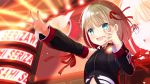 1girl black_shirt black_sleeves blonde_hair commentary_request detached_sleeves eyebrows_visible_through_hair green_eyes hair_between_eyes hair_ribbon idolmaster idolmaster_shiny_colors medium_hair open_mouth outstretched_arm red_nails ribbon rusha_(r_style) screen serizawa_asahi shirt solo sparkle stage stage_lights