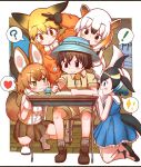 1boy 4girls animal_ears anteater_ears anteater_tail black_fur black_gloves black_hair blonde_hair blue_dress blue_hair blush bow bowtie brown_eyes brown_hair bucket_hat captain_(kemono_friends_3) collared_shirt commentary_request common_dolphin_(kemono_friends) dark_skin desk dhole_(kemono_friends) diamond-shaped_pupils dog_ears dog_girl dog_tail dolphin_tail dorsal_fin dress epaulettes extra_ears eyebrows_visible_through_hair ezo_red_fox_(kemono_friends) fox_ears fox_girl fox_tail frilled_dress frills fur_trim gloves green_eyes hair_between_eyes hat heart highres jacket japari_symbol kemono_friends kemono_friends_3 khakis kneeling light_brown_hair long_hair long_sleeves looking_at_another multicolored_hair multiple_girls open_mouth orange_hair orange_jacket pleated_dress pleated_skirt rakugakiraid sailor_collar shirt shoe_bow shoes short_hair short_sleeves shorts sitting skirt sleeveless socks southern_tamandua_(kemono_friends) spoken_heart squatting sweatdrop symbol-shaped_pupils tail uniform vest white_gloves white_hair white_neckwear writing yellow_eyes