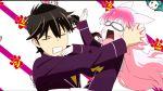 1girl animal_ears bow bowtie mazama_jin murenase!_shiiton_gakuen okami_ranka open_mouth pink_hair tail wolf_ears wolf_tail