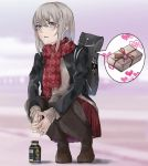1girl argyle argyle_scarf bag bangs black_jacket black_legwear blue_eyes blurry blurry_background bottle brown_footwear brown_sweater carrying day depth_of_field earrings eyebrows_visible_through_hair fringe_trim gift girls_und_panzer hands_together heart interlocked_fingers itsumi_erika jacket jewelry kuromorimine_military_uniform loafers long_sleeves looking_at_viewer medium_hair miniskirt outdoors pantyhose parted_lips pleated_skirt print_scarf red_scarf red_skirt scarf school_bag shoes silver_hair skirt solo speech_bubble squatting stud_earrings sweater wani02 winter_uniform
