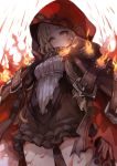 1girl artist_request bangs belt belt_buckle blonde_hair blood blunt_bangs brown_belt brown_dress buckle cape closed_mouth dress dutch_angle expressionless fire frilled_dress frills hair_ribbon hood hood_up hooded_cape keyhole little_red_riding_hood_(sinoalice) lock long_hair looking_at_viewer padlock red_cape red_ribbon ribbon short_dress sidelocks simple_background sinoalice solo standing torn_clothes wavy_hair white_background yellow_eyes