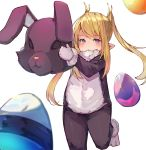 1girl animal_costume animal_ears bangs blonde_hair blush bunny_costume closed_mouth commentary_request cosplay egg eyebrows_visible_through_hair fake_animal_ears final_fantasy final_fantasy_xiv holding kigurumi lalafell long_hair looking_at_viewer pointy_ears rabbit_ears red_eyes sidelocks simple_background solo standing standing_on_one_leg swept_bangs tota_(sizukurubiks) twintails very_long_hair white_background