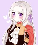 1girl blush cape cute edelgard_von_hresvelg female_focus fire_emblem fire_emblem:_fuukasetsugetsu fire_emblem:_three_houses fire_emblem_16 garreg_mach_monastery_uniform gloves hair_ribbon heart intelligent_systems long_hair looking_at_viewer nintendo parted_lips purple_background ribbon smile solo super_smash_bros. umiyuki violet_eyes white_hair