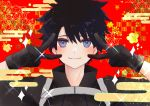 1boy absurdres bangs black_gloves black_hair black_jacket blue_eyes blush checkered checkered_background closed_mouth double_v egasumi emotional_engine_-_full_drive fate/grand_order fate_(series) floral_background fujimaru_ritsuka_(male) gloves hands_up highres jacket looking_at_viewer melty_(corolla) parody polar_chaldea_uniform red_background short_hair smile solo sparkle spiky_hair suspenders v