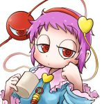 1girl avatar_icon blouse blush chamaji clenched_hand close-up coffee_mug commentary_request cup eyebrows_visible_through_hair frills hand_on_own_cheek headband heart holding holding_cup jitome komeiji_satori long_sleeves looking_at_viewer lowres mug partial_commentary pink_hair raised_eyebrows red_eyes short_hair signature simple_background solo string third_eye touhou upper_body white_background wide_sleeves