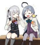 2girls ahoge aqua_neckwear bangs black_dress blush boots closed_eyes cross-laced_footwear dress eating eyebrows_visible_through_hair feeding food grey_hair hair_ribbon holding holding_food holding_spoon jacket kantai_collection kasumi_(kantai_collection) kiyoshimo_(kantai_collection) lace-up_boots long_hair long_sleeves multicolored_hair multiple_girls open_mouth pinafore_dress ponytail purple_dress remodel_(kantai_collection) ribbon shirt side_ponytail simple_background sitting spica1476 spoon sweat two-tone_hair white_background white_jacket white_shirt