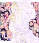 6+boys 6+girls alex_louis_armstrong alphonse_elric baby bald beard black_eyes black_hair blonde_hair blue_eyes blue_neckwear blush border bow bowtie bracelet bridal_veil bride brown_neckwear character_request cigarette closed_eyes confetti dog dress earrings eating edward_elric elicia_hughes english_text everyone eyebrows_visible_through_hair facial_hair flower formal fullmetal_alchemist glasses gracia_hughes groom hair_bun hanayama_(inunekokawaii) house izumi_curtis jewelry lan_fan ling_yao maes_hughes may_chang multiple_boys multiple_girls mustache necklace olivier_mira_armstrong open_mouth orange_hair outline outside_border panda paninya pink_flower ponytail purple_neckwear red_flower riza_hawkeye rose_tomas roy_mustang smile smoke smoking striped striped_neckwear suit tears van_hohenheim veil wedding wedding_dress white_border white_dress white_outline white_suit winry_rockbell yellow_eyes yellow_neckwear