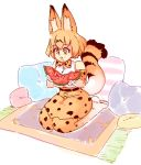 1girl animal_ears bangs blonde_hair bow eating elbow_gloves food fruit gloves holding kemono_friends pillow rtil serval_(kemono_friends) serval_ears serval_print serval_tail shirt short_hair sitting skirt sleeveless smile solo tail wariza watermelon