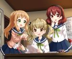 3girls :d arm_behind_back bag black_hairband black_ribbon blue_sailor_collar blue_skirt blush bow braid brown_eyes brown_hair brown_legwear camera character_request commentary_request door gift green_bow green_eyes hair_ribbon hairband hand_to_own_mouth hand_up highres holding holding_bag holding_gift indoors inose_mai koisuru_asteroid konohata_misa long_sleeves manaka_ao multiple_girls open_mouth pantyhose pencil pleated_skirt ponytail ribbon ruu_(tksymkw) sailor_collar school_uniform serafuku shirt skirt smile sweat twintails valentine white_shirt whiteboard
