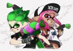 1boy 1girl artist_name bangs baseball_cap basketball_jersey black_gloves black_shirt blunt_bangs clothes_writing commentary crack cropped_torso dark_skin domino_mask dual_wielding fingerless_gloves gloves green_eyes green_hair grin hat holding holding_weapon ink_tank_(splatoon) inkling inkling_(language) isamu-ki_(yuuki) looking_at_viewer mask medium_hair midriff navel pointy_ears sharp_teeth shirt short_hair signature smile splat_dualies_(splatoon) splatoon_(series) splatoon_2 splattershot_(splatoon) t-shirt teeth tentacle_hair texture twintails weapon white_headwear white_shirt
