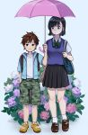 1boy 1girl age_difference backpack bag bangs black_eyes black_hair black_skirt blue_vest bow bowtie brown_footwear brown_hair camouflage camouflage_shorts collared_shirt flower full_body green_neckwear hand_in_pocket height_difference highres holding holding_umbrella hood hood_down hydrangea jacket nashigaya_koyomi open_clothes open_jacket original pink_umbrella pleated_skirt shared_umbrella shirt shoes short_hair short_sleeves shorts shoulder_bag skirt socks standing striped striped_neckwear umbrella vest white_legwear white_shirt yellow_footwear