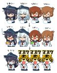 >_< 4girls akatsuki_(kantai_collection) anchor_symbol asimo953 badge black_hair black_headwear black_sailor_collar black_skirt blue_eyes brown_eyes brown_hair closed_eyes commentary_request cowboy_shot cup fangs flat_cap folded_ponytail gargling hair_between_eyes hair_ornament hairclip hat hibiki_(kantai_collection) highres ikazuchi_(kantai_collection) inazuma_(kantai_collection) kantai_collection long_hair long_sleeves mask mouth_mask multiple_girls multiple_views neckerchief pleated_skirt red_neckwear sailor_collar school_uniform serafuku shirt silver_hair simple_background skin_fangs skirt surgical_mask tiger translated triangle_mouth violet_eyes washing_hands white_background white_shirt