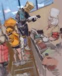 1boy 1other 2girls bag bag_over_head cashier closed_eyes closed_mouth faust_(guilty_gear) glasses gloves guilty_gear guilty_gear_strive hat holding holding_wallet hood hoodie indoors laced_ends may_(guilty_gear) medium_hair multiple_girls orange_headwear orange_hoodie paper_bag shopping shopping_cart sleeves_rolled_up smile wallet white_gloves white_hair white_headwear window