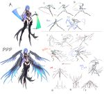 1girl absurdres bare_shoulders blue_hair blue_wings breasts claws detached_sleeves energy_sword highleg highres holding holding_sword holding_weapon large_breasts long_hair mecha_musume multiple_wings navel punishing:_gray_raven see-through simple_background sketch skindentation solo sword tattoo tsuki_no_i-min weapon wings