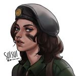 1girl alternate_costume artist_name beret brown_hair facepaint grey_eyes hat highres lips looking_at_viewer military military_uniform mira_(rainbow_six_siege) nose rainbow_six_siege short_hair solo suisui_again twitter_username uniform white_background