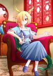 1girl aospanking armchair bangs blonde_hair blue_footwear blue_shirt blue_skirt chair collarbone commentary_request crossed_legs dragon_horns frown full_body hair_over_one_eye horns kicchou_yachie lattice looking_at_viewer partial_commentary pleated_skirt red_eyes round_window shirt short_hair short_sleeves sitting skirt socks tail touhou turtle_shell vase white_legwear window