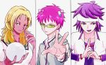 1girl 2boys aiura_mikoto bead_bracelet beads blonde_hair bracelet crystal_ball dark_skin ear_piercing earrings glasses gyaru hair_ornament hairclip hand_up hands_together headband highres jewelry long_hair looking_at_viewer multiple_boys outstretched_hand piercing pink_hair pose purple_hair ring saiki_kusuo saiki_kusuo_no_psi_nan school_uniform shirt short_sleeves simple_background tinted_eyewear toritsuka_reita upper_body white_background white_headband white_shirt