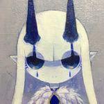 1girl blue_choker blue_eyes blue_skin choker closed_mouth facial_mark fur_trim gem highres horns long_hair masyu_ori original pointy_ears solo traditional_media upper_body white_hair