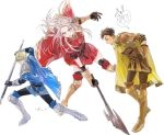 1girl 2boys axe blonde_hair blue_cape blue_eyes brown_hair cape claude_von_riegan closed_mouth dark_skin dark_skinned_male dimitri_alexandre_blaiddyd earrings edelgard_von_hresvelg fire_emblem fire_emblem:_three_houses from_side gloves green_eyes hair_ribbon highres hira_(mcohira) holding holding_axe jewelry long_hair multiple_boys open_mouth polearm red_cape ribbon short_hair simple_background violet_eyes weapon white_background white_hair yellow_cape