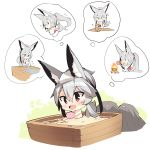 1girl :< :d animal_ear_fluff animal_ears bangs barefoot blush bucket campfire chibi commentary_request eyebrows_visible_through_hair fire fox_ears fox_girl fox_tail grey_hair hair_between_eyes highres holding japanese_clothes kimono long_hair long_sleeves mallet multiple_views nude obi open_mouth original parted_lips partially_submerged petals petals_on_liquid pouring red_eyes sash sitting smile standing tail towel towel_on_head triangle_mouth very_long_hair water white_background white_kimono wide_sleeves yuuji_(yukimimi) |_|