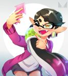 +_+ 1girl ;d alternate_hairstyle aori_(splatoon) artist_logo black_hair black_shorts cellphone chichi_band commentary cowboy_shot domino_mask earrings eyebrows_visible_through_hair fangs gradient_hair hair_over_shoulder hair_tubes holding holding_phone jacket jewelry leaning_forward long_hair long_sleeves mask mole mole_under_eye multicolored_hair one_eye_closed open_clothes open_jacket open_mouth phone pointing pointy_ears ponytail purple_hair purple_jacket self_shot shirt short_shorts shorts smartphone smile solo splatoon_(series) standing tentacle_hair very_long_hair white_shirt yellow_eyes