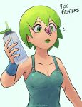 1girl absurdres bottle bracer bug butterfly butterfly_on_nose collarbone cross-eyed english_text foo_fighters green_eyes green_hair green_lipstick highres holding holding_bottle insect jojo_no_kimyou_na_bouken lipstick makeup overalls short_hair signature solo squid2corn stone_ocean tongue water_bottle