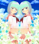 2girls belly blue_eyes blue_hair blue_sky blush clouds cloudy_sky dress flower highres lily_(flower) liz. multiple_girls sailor_collar sailor_dress scarf siblings sky smile twins