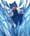 1girl blue_bow blue_dress blue_eyes blue_hair blue_theme bow cirno detached_wings dress grin hair_bow hands_up highres ice ice_wings looking_at_viewer neck_ribbon prat_rat red_neckwear ribbon shirt short_sleeves smile solo touhou white_background white_shirt wings