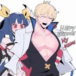 1boy 1girl @_@ arc_system_works bare_chest belt birthday blonde_hair blue_hair blush breasts choker dazed dizzy_(guilty_gear) guilty_gear guilty_gear_strive guilty_gear_xrd hair_ribbon highres ky_kiske kyou_(ningiou) red_eyes ribbon short_hair sigh smile swirling twintails