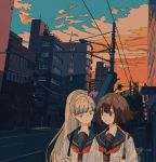 2girls backpack bag bangs blonde_hair brown_eyes brown_hair clouds cloudy_sky flat_color highres kogecha_(coge_ch) ligne_claire long_hair multiple_girls neckerchief orange_neckwear original outdoors power_lines sailor_collar shirt short_hair sky smile twilight upper_body white_shirt yellow_eyes
