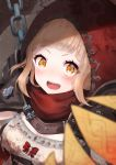 1girl bangs belt blonde_hair blunt_bangs blush bow breasts brown_belt chain harua_sorausagi highres hood hood_up little_red_riding_hood_(sinoalice) looking_at_viewer medium_breasts open_mouth red_bow red_hood sinoalice solo upper_body upper_teeth yellow_eyes