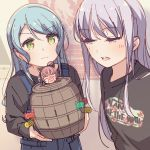 2girls :3 ahoge aiba_aina aqua_hair ayasaka bang_dream! bangs barrel black_shirt cat_ear_headphones character_doll clothes_writing commentary green_eyes grey_hair half-closed_eyes headphones hikawa_sayo holding kudou_haruka_(seiyuu) long_hair long_sleeves minato_yukina multiple_girls open_mouth overalls photo-referenced pop-up_pirate redhead seiyuu_connection shirt symbol_commentary upper_body v-shaped_eyebrows vans