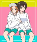 2girls aqua_background aqua_shorts arm_grab bangs baseball_cap black_headwear border brown_eyes brown_hair casual closed_mouth commentary drawstring frown girls_und_panzer hat hood hood_down hoodie long_sleeves looking_at_viewer looking_to_the_side multicolored multicolored_background multiple_girls mutsu_(layergreen) nishizumi_maho nishizumi_miho outside_border pink_background shirt short_hair shorts siblings side-by-side sisters sitting white_border white_shirt yellow_background
