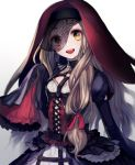 1girl 723_(tobi) blonde_hair blush choker corset dress frilled_dress frilled_sleeves frills gothic hair_ribbon happy headdress hoop_skirt juliet_sleeves little_red_riding_hood_(sinoalice) long_hair long_sleeves looking_at_viewer multicolored multicolored_clothes multicolored_dress open_mouth orange_eyes puffy_sleeves red_ribbon ribbon sidelocks simple_background sinoalice sleeves_past_fingers sleeves_past_wrists solo standing upper_teeth veil wavy_hair white_background