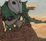1girl bangs black_eyes bra_strap desert earrings expressionless green_hair hatsune_miku highres jacket jewelry koboshinn looking_at_viewer mask mask_on_head solo suna_no_wakusei_(vocaloid) sunglasses twintails vocaloid