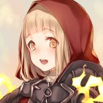 1girl bangs beige_background blonde_hair blunt_bangs blush fire hood hood_up little_red_riding_hood_(sinoalice) looking_at_viewer open_mouth red_hood simple_background sinoalice solo teroru turtleneck upper_body upper_teeth yellow_eyes