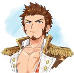 1boy beard blue_eyes blush brown_hair chest epaulettes facial_hair fate/grand_order fate_(series) long_sleeves looking_at_viewer male_focus military military_uniform muscle napoleon_bonaparte_(fate/grand_order) pectorals scar shitappa simple_background smile solo uniform upper_body