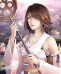 1girl :d =d absurdres bangs beads black_bra blue_eyes bra bra_strap bracelet breasts brown_hair chiaokelate commentary detached_sleeves final_fantasy final_fantasy_x floral_print flower highres holding holding_staff japanese_clothes jewelry kimono lily_pad looking_at_viewer lotus medium_breasts medium_hair necklace open_mouth orb outdoors ribbon_trim sash smile solo staff underwear upper_body upper_teeth water wide_sleeves yellow_sash yuna_(ff10)