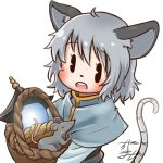 1girl ahoge animal_ear_fluff animal_ears avatar_icon basket bishamonten's_pagoda black_eyes blush capelet chamaji commentary_request eyebrows_visible_through_hair grey_hair hair_between_eyes holding holding_basket long_sleeves lowres mouse mouse_ears mouse_tail nazrin open_mouth partial_commentary round_teeth short_hair signature simple_background solo tail teeth touhou upper_body white_background