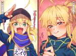 2girls :d ahoge aqua_eyes artoria_pendragon_(all) blonde_hair blue_eyes blue_jacket blush commentary_request fate/grand_order fate_(series) hat heart highres jacket looking_at_viewer mithurugi-sugar multiple_girls mysterious_heroine_x mysterious_heroine_xx_(foreigner) open_mouth pink_background ponytail salute scarf shirt smile translation_request upper_body white_shirt