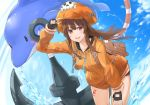 1girl anchor backpack bag bangs black_gloves black_shorts blush brown_eyes brown_hair day dolphin drawstring eno_(joqeve) fingerless_gloves gloves guilty_gear guilty_gear_strive hat heart highres leaning_forward long_hair long_sleeves looking_at_viewer may_(guilty_gear) open_mouth orange_headwear orange_hoodie pirate pirate_hat short_shorts shorts skull_and_crossbones sky smile solo water