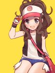 1girl baseball_cap blue_eyes brown_hair hat highres kuatakeru poke_ball pokemon pokemon_(game) ponytail shorts simple_background smile solo touko_(pokemon) vest yellow_background