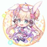 >_< 1girl :d animal_ears bangs black_legwear blonde_hair blue_eyes boots bunny_hair_ornament chibi crescent double_bun dress eyebrows_visible_through_hair flower full_body fur-trimmed_boots fur-trimmed_dress fur-trimmed_gloves fur_trim gloves hair_between_eyes hair_flower hair_ornament highres kagami_mochi long_sleeves looking_at_viewer low_twintails on_head open_mouth outstretched_arms pink_dress pink_flower rabbit_ears rukako shironeko_project smile solo spread_arms star thigh-highs tsukimi_(shironeko_project) twintails white_background white_footwear white_gloves wide_sleeves