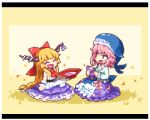 2girls animal_hat blonde_hair blue_shirt bow closed_eyes commentary_request cup gourd green_eyes hair_bow hat heart holding horn_ribbon horns ibuki_suika kumamoto_(bbtonhk2) letterboxed long_sleeves lowres multiple_girls okunoda_miyoi pink_hair pixel_art purple_skirt red_bow ribbon sakazuki shirt sitting skirt sleeveless sleeveless_shirt smile touhou whale_hat white_shirt wrist_cuffs yellow_background